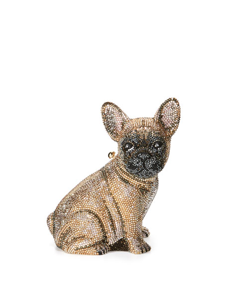 Pierre French Bulldog Crystal Clutch Bag, Champagne by Judith Leiber Couture