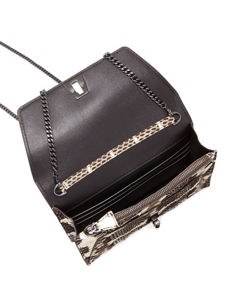 Anouk Mini Watersnake Chain Envelope Clutch Bag, Ivory/Black
