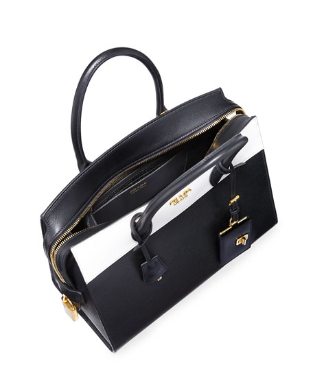 Prada Esplanade Medium Bicolor City Satchel Bag, Black/White (Nero ...