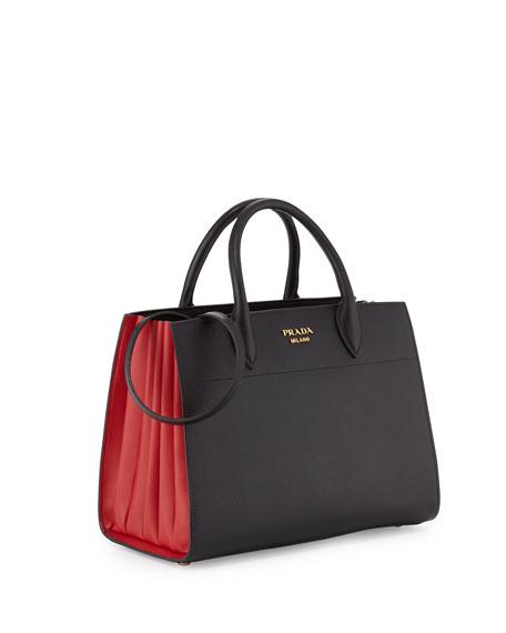 Bibliothèque Medium Saffiano Top-Handle Tote Bag, Black/Red (Nero/Fuoco)