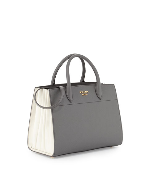 Bibliotheque Medium Saffiano Top-Handle Tote Bag, Dark Gray/White (Mecurio/Talco)