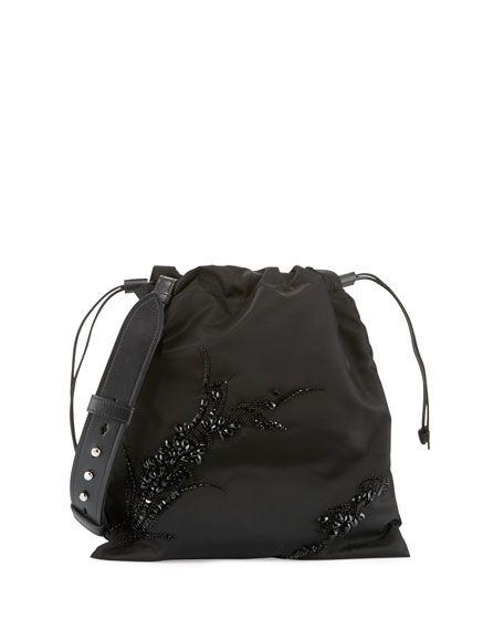 Prada Small Beaded Nylon Drawstring Pouch, Black (Nero)