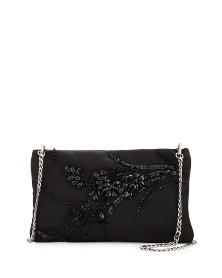 Prada Nylon Beaded Chain Shoulder Bag, Black (Nero)