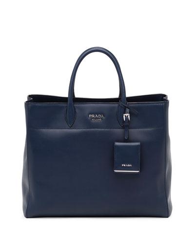 prada black yellow saffiano leather embellished mini tote bag