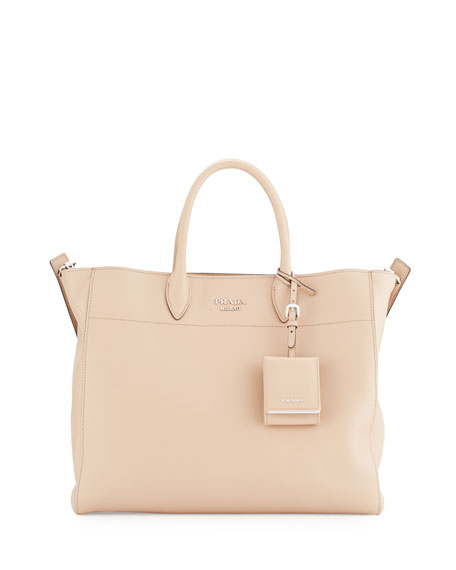 City Calfskin Tote Bag with Studded Strap, Blush (Cameo)