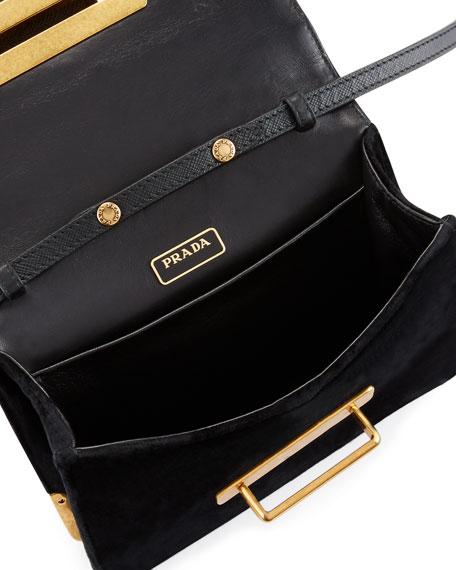 Cahier Astrology Velvet Shoulder Bag, Black (Nero)