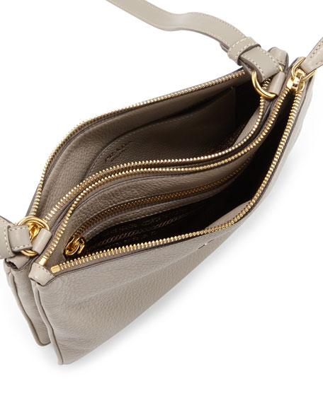 Prada Vitello Daino Double Zip Crossbody Bag Light Gray Pomice Neiman Marcus