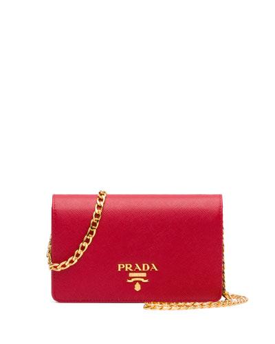 Saffiano Lux Crossbody Bag, Red (Fuoco)