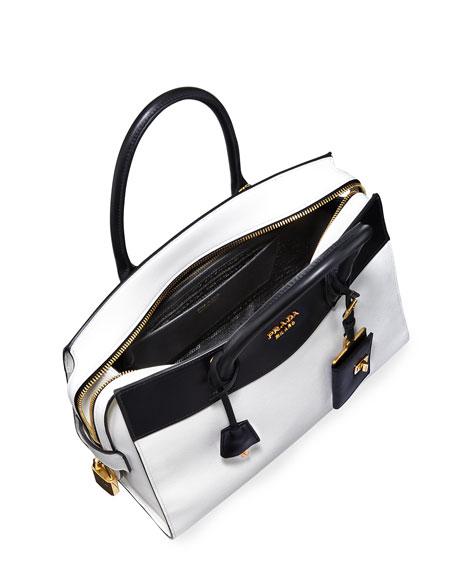 prada backpack purse - Prada Esplanade Medium Bicolor City Satchel Bag, White/Black ...
