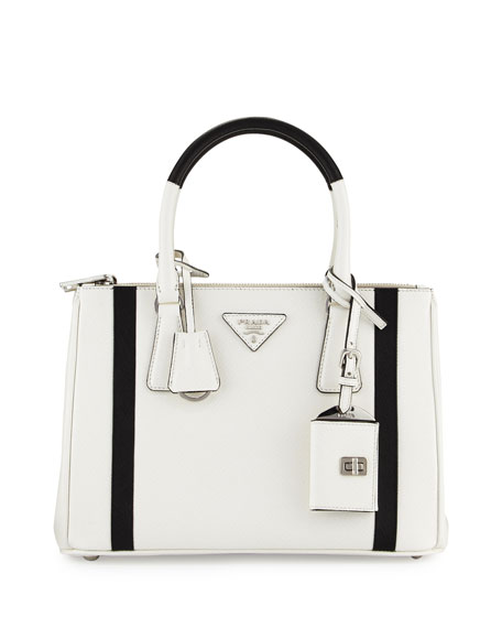 Prada Bicolor Saffiano Lux Tote Bag, White/Black (Bianco/Nero)