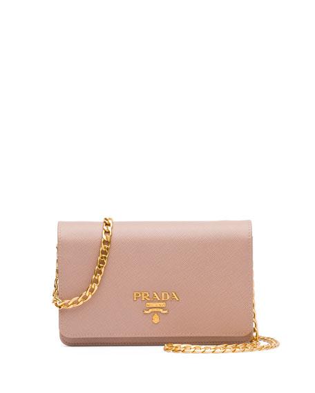 Saffiano Lux Crossbody Bag, Blush (Cameo)