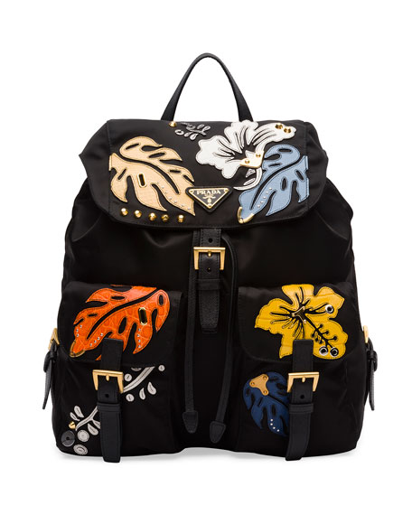 Hawaiian Double-Pocket Backpack, Black (Nero)