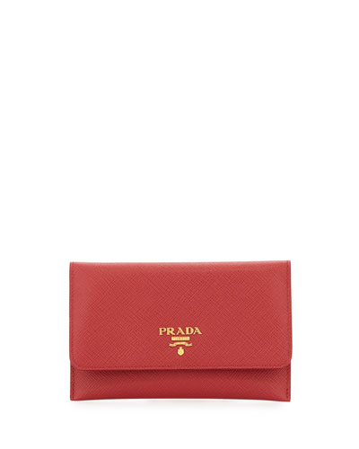 Saffiano Wallet/Card Case, Red (Fuoco)