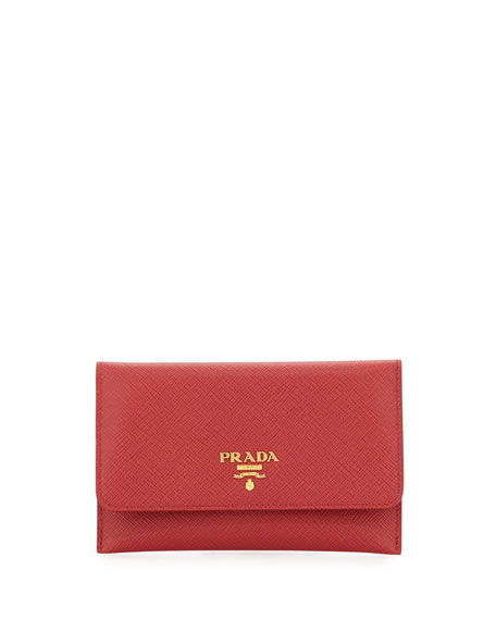 Saffiano Wallet/Card Case, Red (Fuoco)