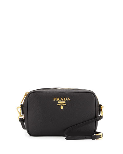 Small Saffiano Camera Crossbody Bag, Black (Nero)