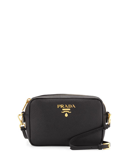 Small Saffiano Camera Crossbody Bag, Black (Nero)