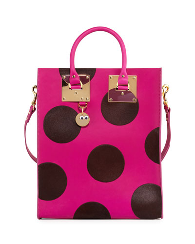 Albion Polka-Dot Calf-Hair Tote Bag, Plum/Dark Fuchsia