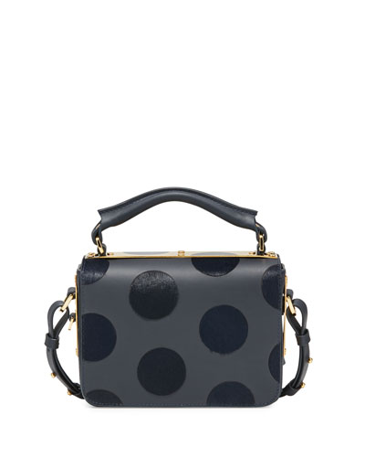 Finsbury Polka-Dot Calf-Hair Satchel Bag, Midnight Navy