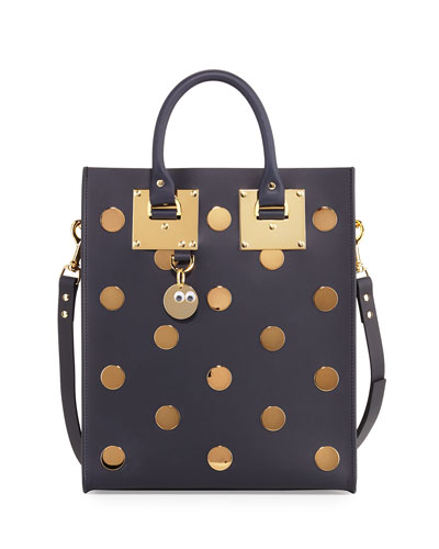 Albion Mini Polka-Dot Leather Tote Bag, Midnight Navy