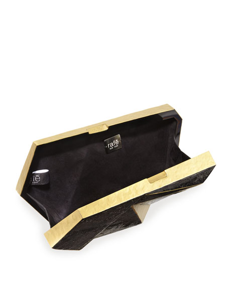 Azura Asymmetric Minaudiere, Black/Gold