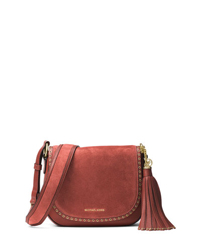 Brooklyn Medium Grommet Saddle Bag, Brick