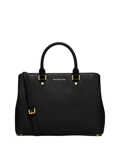 Savannah Large Saffiano Satchel Bag, Black