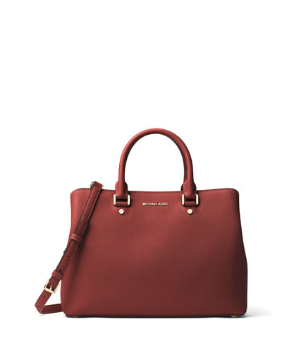 Savannah Large Saffiano Satchel Bag, Brick