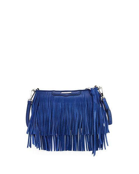 Rebecca Minkoff Finn Leather Fringe Crossbody Bag, Cobalt