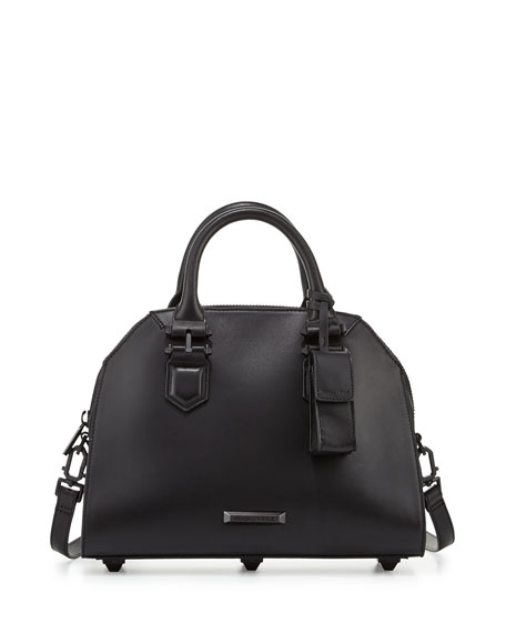 Holly Leather Satchel Bag, Black
