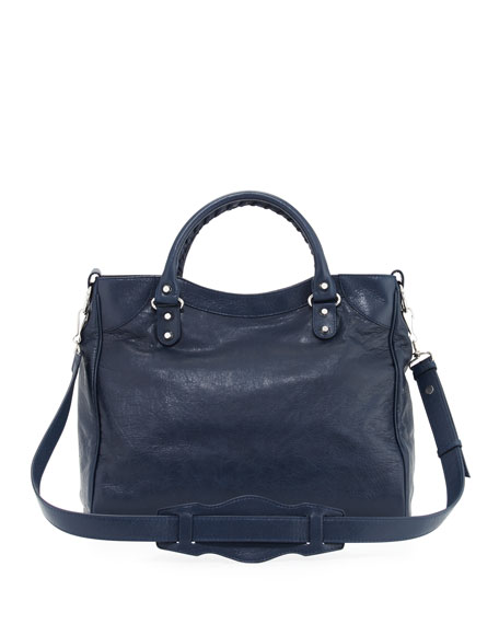 Giant 12 Silver Velo Lambskin Tote Bag, Blue