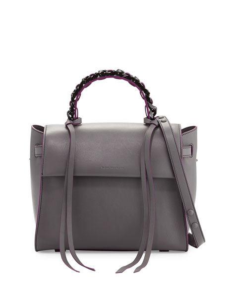 Elena Ghisellini Angel Sensua Medium Satchel Bag, Gray/Purple