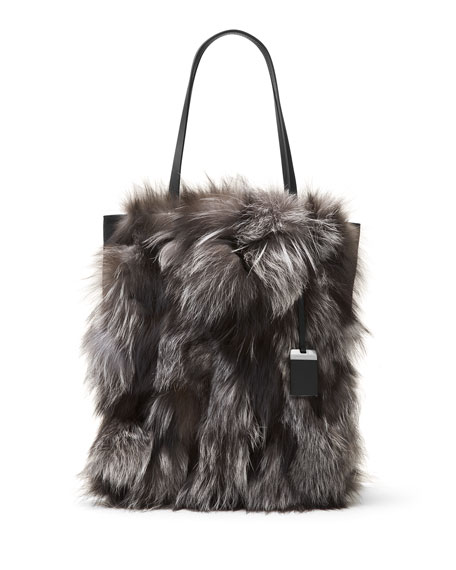 ad7ec0c48a89 Michael Kors Eleanor Large Fox-Fur North-South Tote Bag, Silver | Neiman  Marcus
