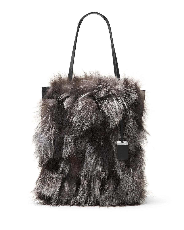 7fa0e5d0f0b0 Michael Kors Eleanor Large Fox-Fur North-South Tote Bag, Silver ...