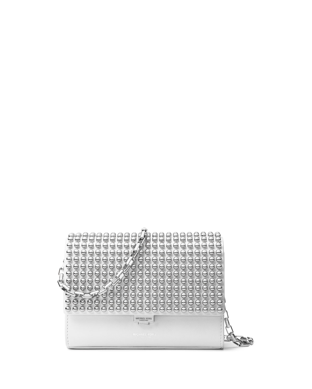 9334dbde93d4 Michael Kors Yasmeen Small Studded Clutch Bag, Optic White/Palladium ...