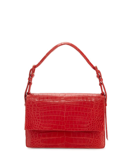 Mini Flap Crocodile Top-Handle Bag, Red Matte