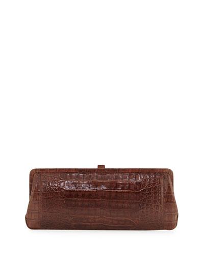 Small Frame Crocodile Clutch Bag, Cognac Shiny