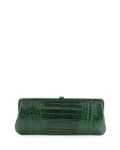Small Frame Crocodile Clutch Bag, Kelly Green Shiny