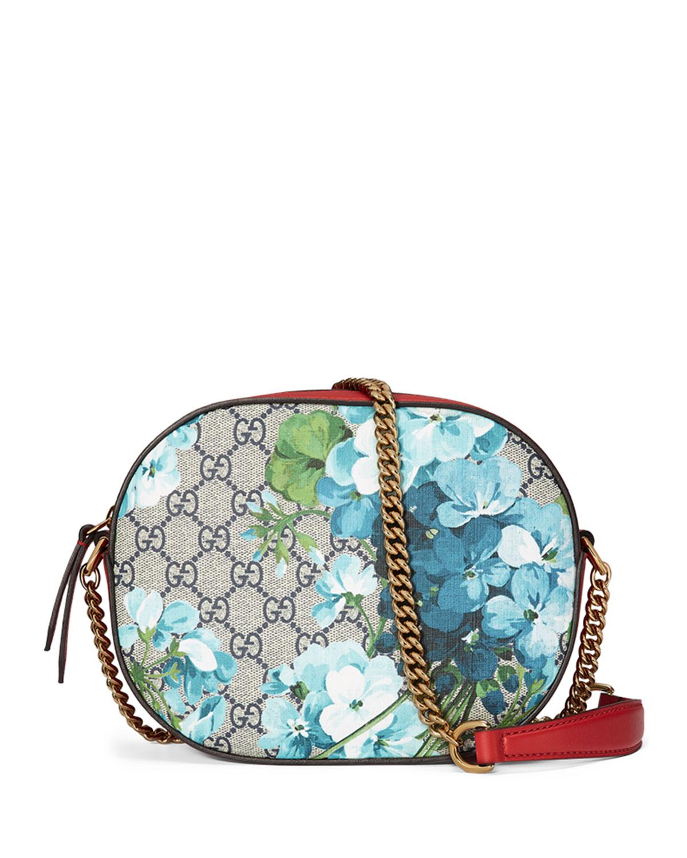 bc717b75488a93 Gucci GG Blooms Mini Chain Bag, Blue/Red | Neiman Marcus