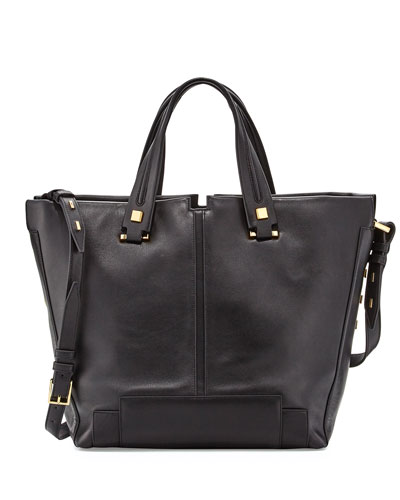 Keaton Large Leather Convertible Tote Bag, Onyx