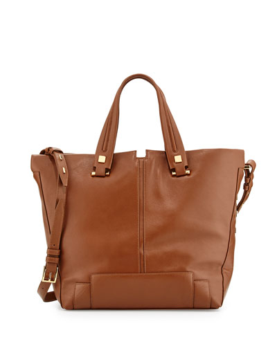 Keaton Large Leather Convertible Tote Bag, Tabac