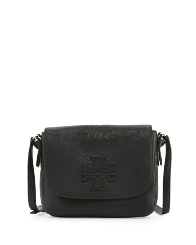 Harper Leather Messenger Bag, Black
