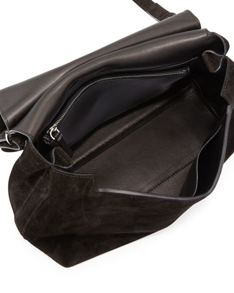 Sideby Suede Messenger Bag, Black