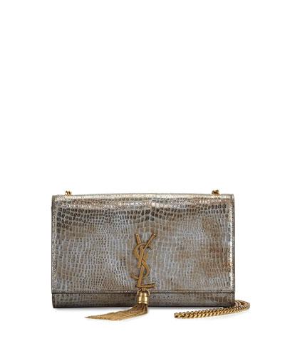 Kate Monogram Medium Leather Tassel Shoulder Bag, Dark Platine