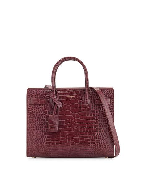Sac de Jour Baby Crocodile-Embossed Satchel Bag, Rose