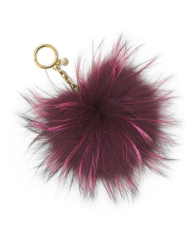 Large Fur Pompom Keychain, Plum