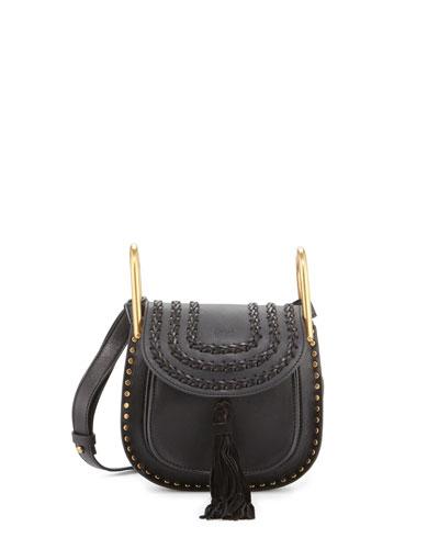 Hudson Mini Leather Shoulder Bag, Black