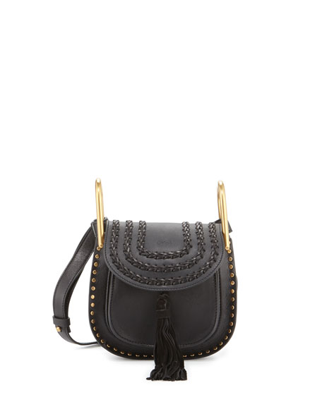 Hudson Mini Leather Shoulder Bag, Black