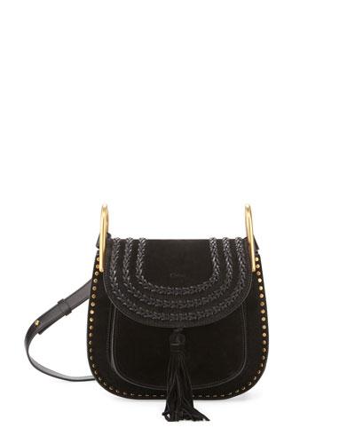 Hudson Small Suede Shoulder Bag, Black