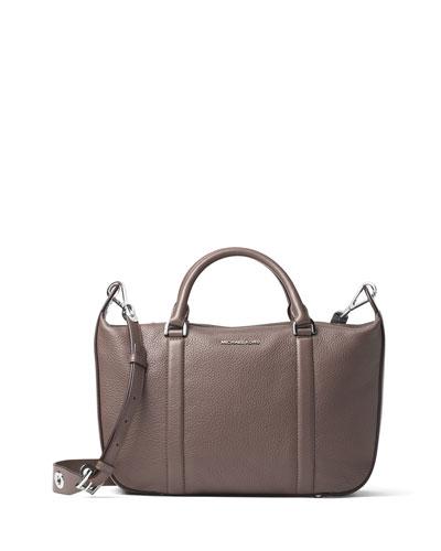 Raven Large Leather Satchel Bag, Cinder