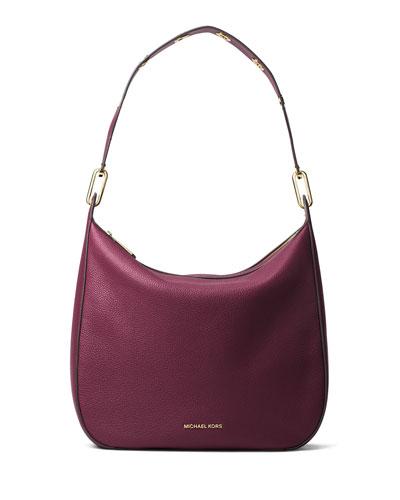 947582b2a39848 MICHAEL Michael Kors Raven Large Leather Shoulder Bag, Plum